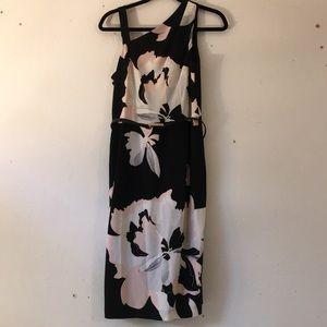 Floral asymmetric cold shoulder dress